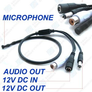 AUDIO MICROPHONE MIC FOR SECURITY CCTV DVR CAMERAS