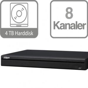 Dahua 8 kanalers 4K NVR med 4 TB harddisk og indbygget 8 ports PoE switch NVR4208-8P-4K