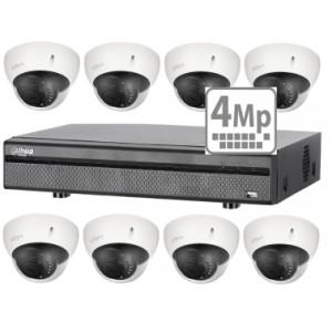 Dahua KIT HDCVI 4 kanalers TRIBRID + 8 stk 4 MP DOME 3,6 mm IR-lys + 2 TB