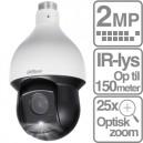 Starlight PTZ dome kamera 2 MP med 25 x optisk zoom indbygget IR-lys PoE+