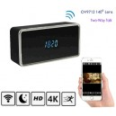 WIFI Clock Camera, HD Video 4k/2k/1080p, Nightvision, WIFI/P2P/IP 16GB